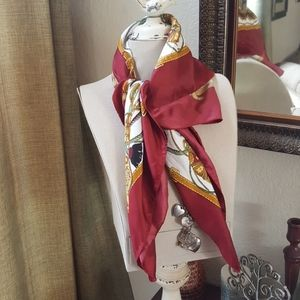 Vintage Polyester red and gold decorative scarf
